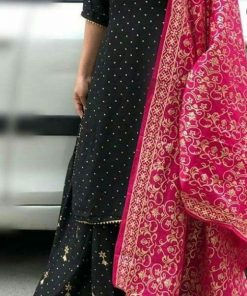 Rayon dark blue kurti and skirt with pink printed dupatta.