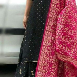 Rayon dark blue kurti and skirt with pink printed dupatta.