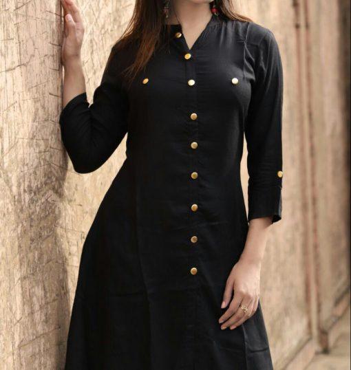 Black rayon kurti with with palazzo
